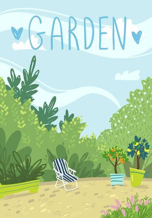 Cozy summer garden vector illustration  イラスト・ベクター素材