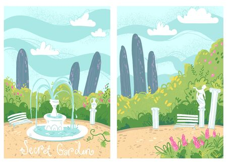Cozy secret garden with fountain and antique columns Illustration