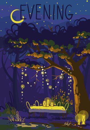 cozy evening in a summer garden, dinner outside illustration