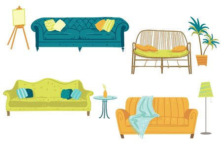 Set of four sofas and home decor elements, furniture. Vector illustration