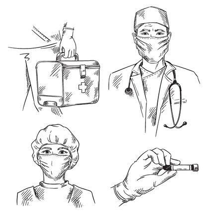 Set of medicine themed icons: doctor and nurse wearing masks, hand with the bloos test and ambulance  first aid kit Ilustracja