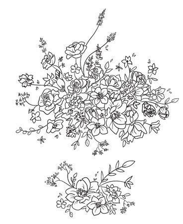 Flower composition, decorative element, vector line art  Çizim