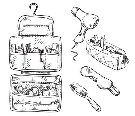 Beauty travel kit wash bag, set of travel necessities. Vector sketch.