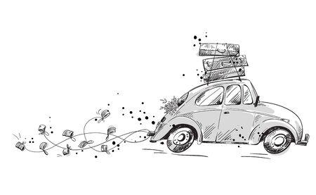 voiture avec décorations de mariage et emballée avec des valises en lune de miel, illustration vectorielle