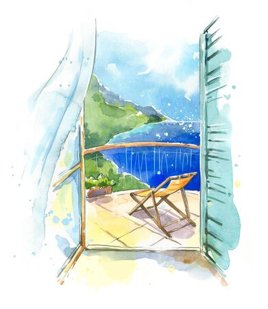 Sea view from the balcony at the seaside, watercolor 写真素材