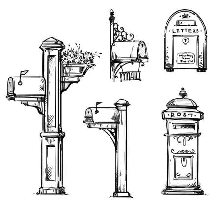 Set of vintage mailboxes, post mounted mailbox vector sketch.