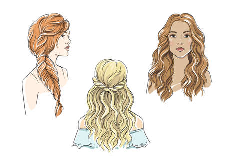 Set of different female hairstyles with long hair vector illustration Vetores