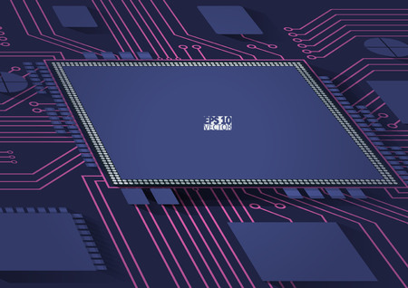 Processor and chip, engineering and tech, motherboard and computer design, vector illustration