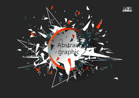 Abstract faceted element cracked into multiple fragments. Explosion effect. Eps10 Vector illustration.