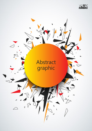 Abstract faceted element cracked into multiple fragments. Explosion effect.  Vector illustration.