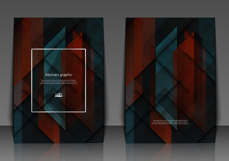 Vector geometric abstract design with squares and lines