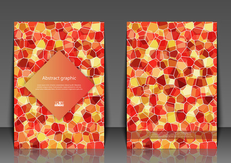 Flyer template with abstract background. Abstract square pixel mosaic background. Eps10 Vector illustration Stock Illustratie