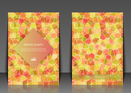 Flyer template with abstract background. Abstract square pixel mosaic background.