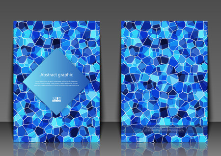 Flyer template with abstract background. Abstract square pixel mosaic background. Eps10 Vector illustration.