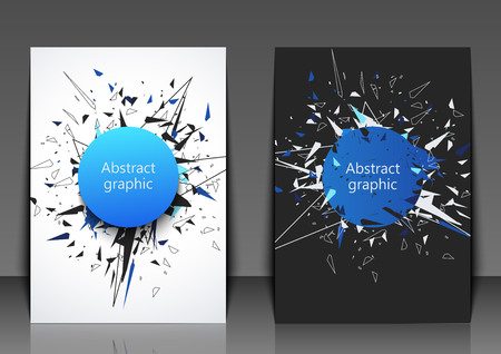 Flyer template with abstract background. Abstract faceted element cracked into multiple fragments. Explosion effect. Eps10 Vector illustration. Ilustração