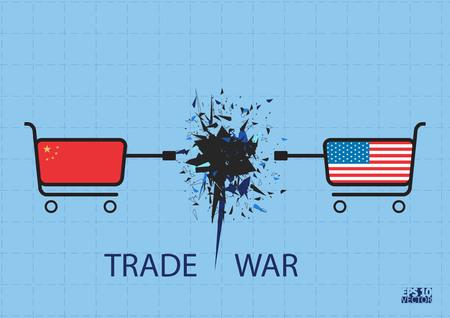 Handelskrieg Konzept. Eps10-Vektorillustration.