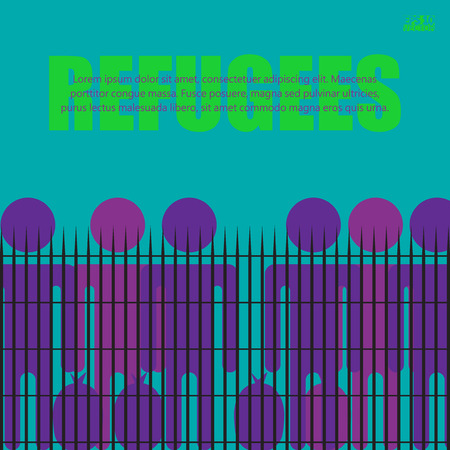 Migrants and refugees are standing behind closed and shut barrier, fence made of barbed wire. Eps10 vector illustration