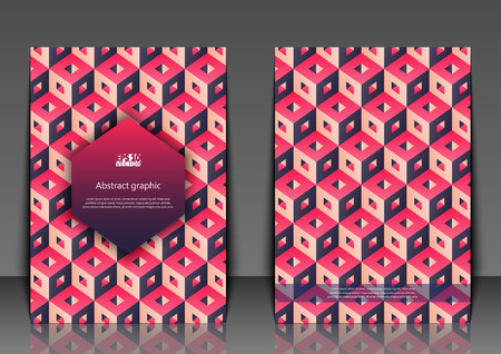 Flyer template with abstract background. Graphic illustration with cubes. Eps10 vector illustration.