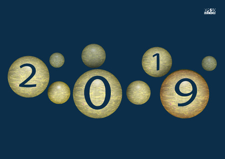 2019 Happy New Year background with christmas ball. Eps10 Vector illustration.