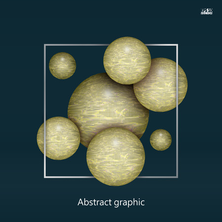 Abstract textured 3d spheres with reflective surface. Eps10 Vector illustration