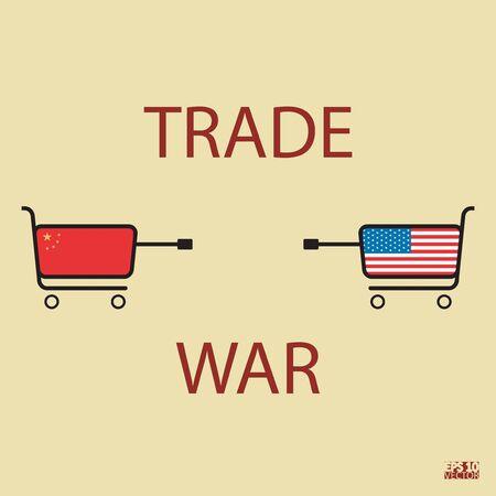 Handelskrieg Konzept. Grafische Darstellung. Vektor-Illustration. Vektorgrafik
