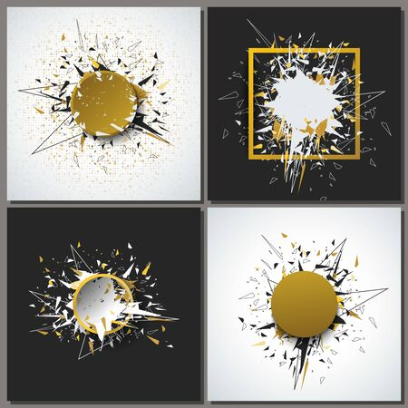 Set. Abstract faceted element cracked into multiple fragments. Explosion effect. Eps10 Vector illustration.