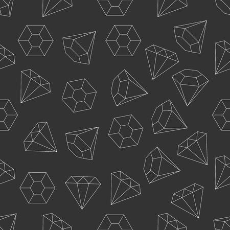 piedras preciosas: Seamless diamantes de línea, piedra preciosa, joya, patrón de piedras preciosas delgada minimalista