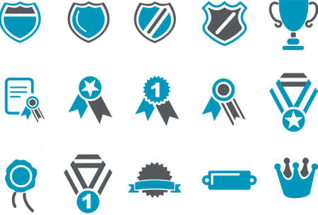 first class: Badges Icon Set - Vector icons pack - Blue Series