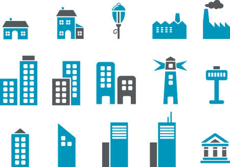 City Icon Set - Vector icons pack - Blue Series Vector