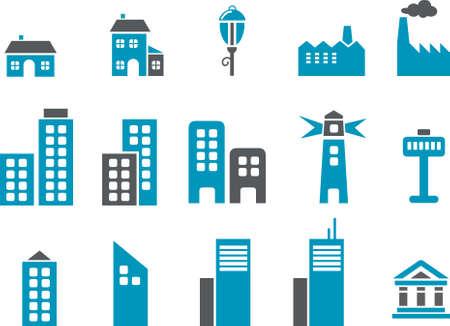 built tower: Ciudad Icon Set - Vector pack de iconos - Serie Azul