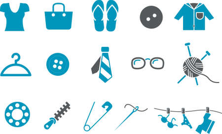 polo ball: Clothing Icon Set - Vector icons pack - Blue Series Illustration