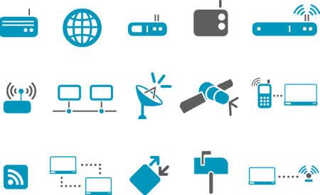 통신 아이콘 세트 - 벡터 아이콘 팩 - 블루 시리즈