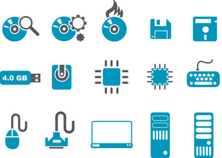 Computer Icon Set - Vector icons pack - Blue Series