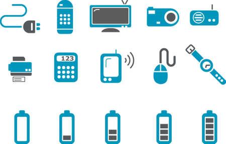 clock radio: Electr�nica Icon Set - Vector pack de iconos - Serie Azul