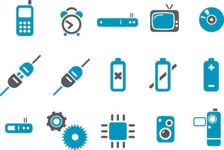 Electronic Icon Set - Vector icons pack - Blue Series Stock Vector - 4474648