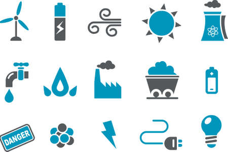 cell damage: Energy Icon Set - Vector icons pack - Blue Series