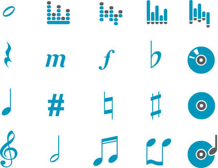 birdsong: Music Icon Set - Vector icons pack - Blue Series Illustration