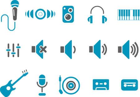 サイレント: 音楽アイコン セット - ベクトル アイコン パック - ブルー シリーズ