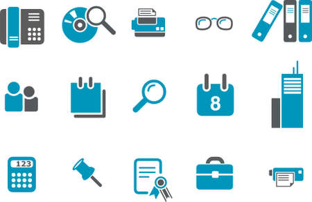 Office Icon Set - Vector icons pack - Blue Series Vector