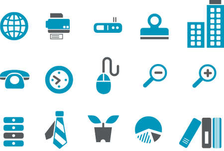 Office Icon Set - Vector icons pack - Blue Series Illustration