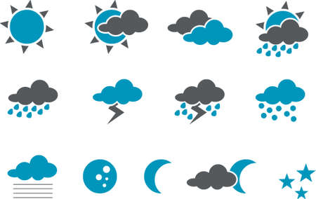 lightnings: Weather Icon Set - Vector icons pack - Blue Series Illustration