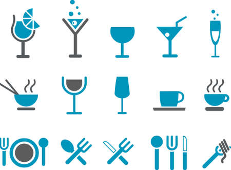 Vector icons pack - Blue Series, food collection