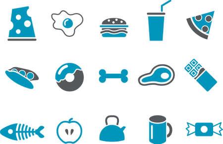 cafe bombon: Pack de iconos vectoriales - Serie Azul, recogida de alimentos