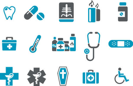 Vector icons pack - Blue Series, health collection Vector