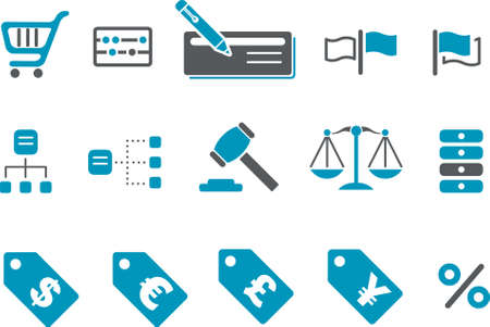 Vector icons pack - Blue Series, money collection Stock Vector - 4474654