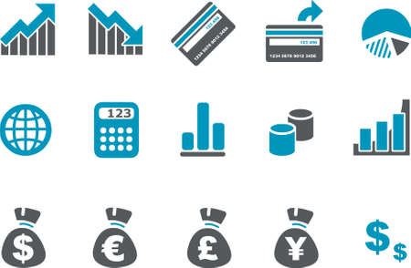 Vector icons pack - Blue Series, money collection Illustration