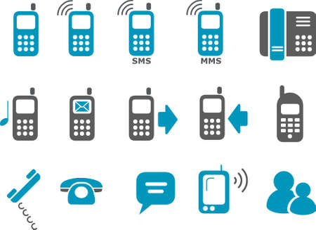 Vector icons pack - Blue Series, phone collection Illustration