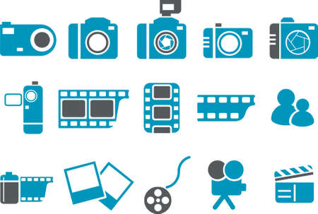 Vector icons pack - Blue Series, photo collection Stock Vector - 4474684