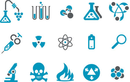 Vector icons pack - Blue Series, research collection Stock Vector - 4474678