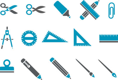 Vector icons pack - Blue Series,school collection Illustration